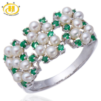 Hutang Genuine Emerald with Freshwater Pearls Solid Sterling Silver 925 Ring Women's Elegant Fine Jewelry