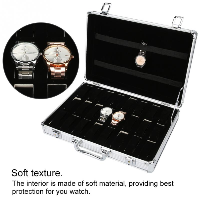 24 Grids Aluminum Alloy Suitcase Watch Display Storage Box Watch Organizer Case Makeup Tools Kits black professional makeup cosmetic storage train case box trays aluminum organizer artist hiker draws