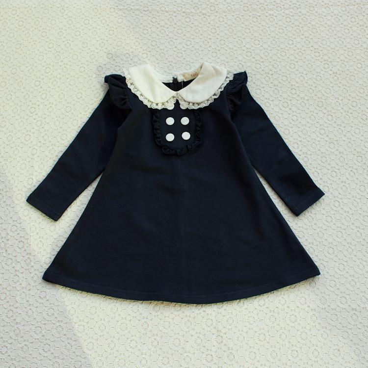 HTB1wQOtLpXXXXbNXpXXq6xXFXXXB - 2017 spring autumn new arrival cotton girl korean clothes doll collar long sleeved casual girls A-line mini dress kids clothing