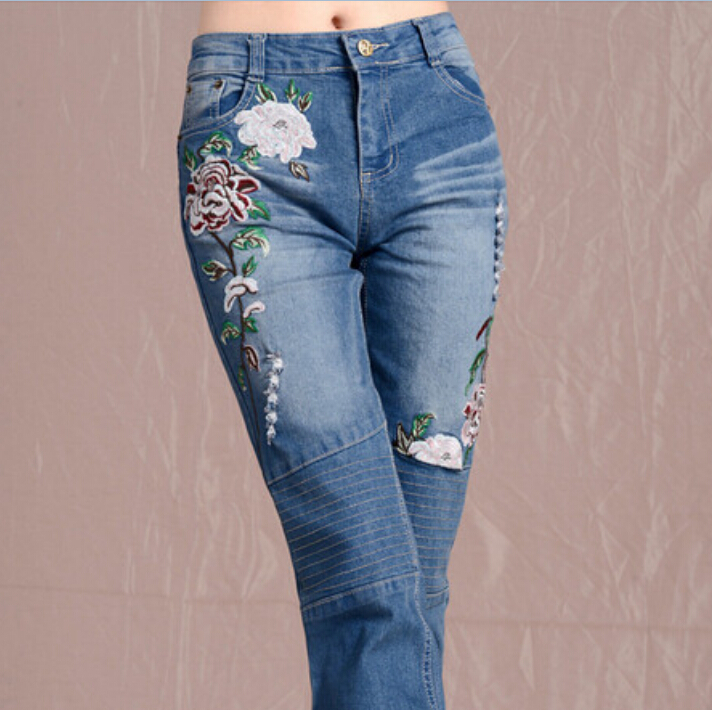 National style women spring summer autumn fashion ethnic embroidery jeans flowers embroider denim pants plus size