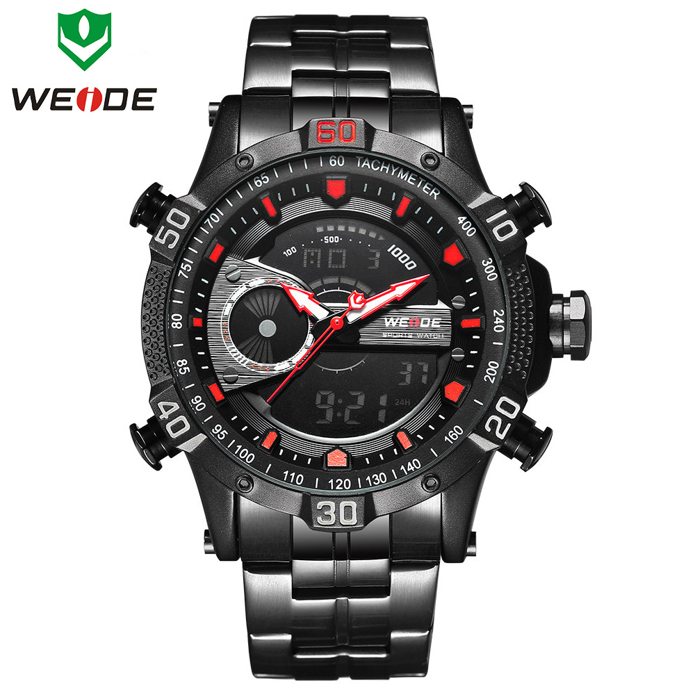 Luxury Brand WEIDE Men Military Stainless steel LED Digital Sport Watches Men's Clock Male Quartz Wrist Watch Relogio Masculino weide clock men digital double display watch srainless steel bracelets quartz sport 3amt waterproof electronic wrist led watches