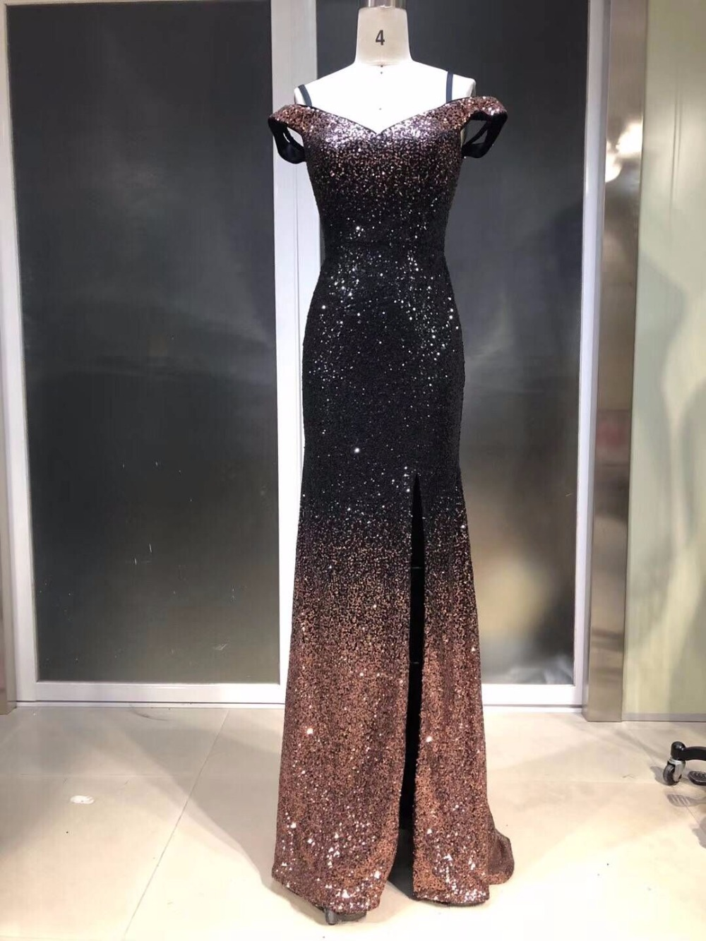Summer Sexy Mermaid Prom Dresses Short Sleeve design Evening Dress Sequins New Design Amazing Party gown beading Evening gown