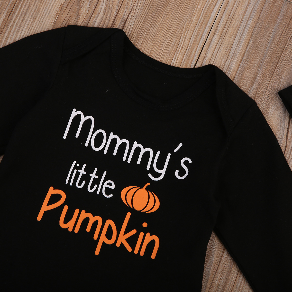 17 Cute Halloween Newborn Baby Boys Girls Winter Clothes Long Sleeve Romper Pants Leggings Cotton Pumpkin Print Outfit 3pcs 6