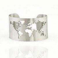 Nouveau haute poli En Acier Inoxydable 40mm large carte du monde conception manchette bracelet bracelet mode bijoux accessoires livraison gratuite-