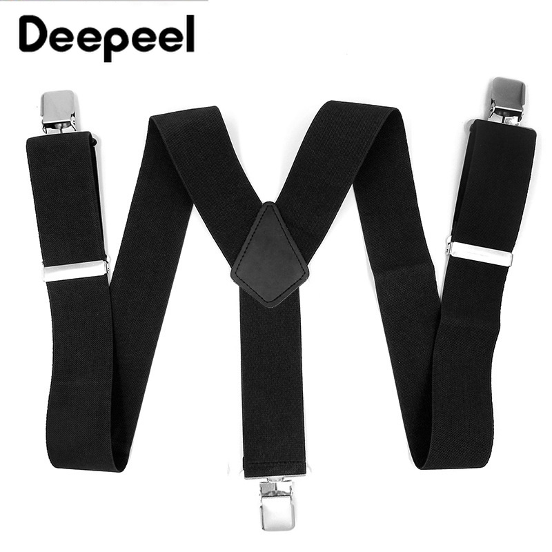 Deepeel 1pc 5X120cm High-grade Black Polyester Elastic Force Suspenders 3 Clip Y Type Men's Suspenders Business Suit Decoration