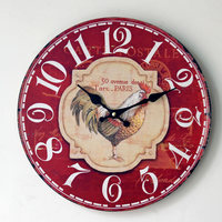 New Arrival Clock On The Wall Red Home Furnishing Painted Rooster Wood Wall Clock Grocery Office Fashion Pendant