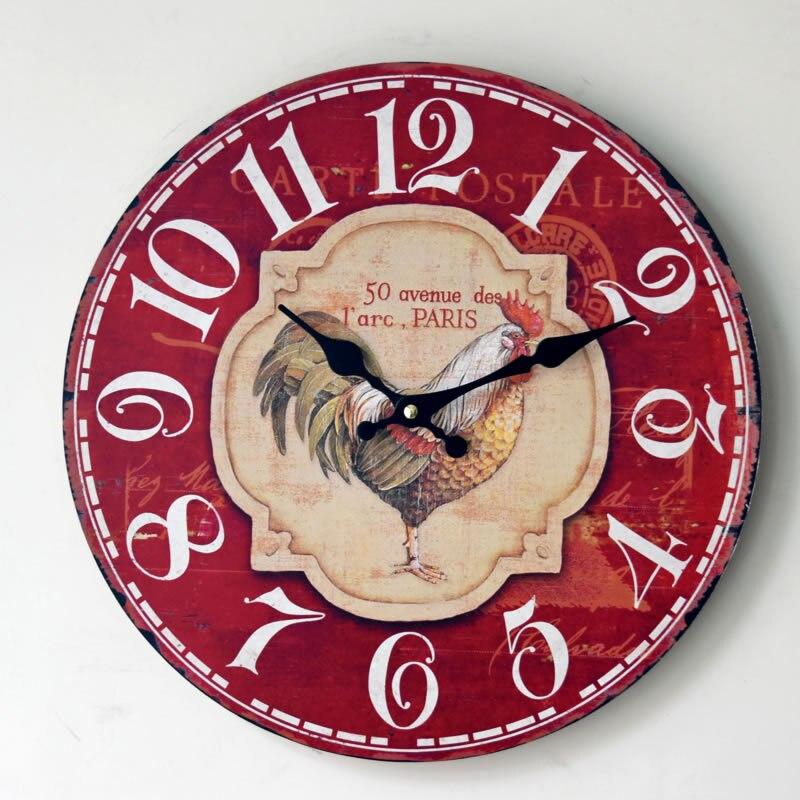 408e834a9ef46 Nova Chegada Relógio de Parede Na Parede Vermelha Início Mobiliário Pintado  Galo de Madeira Relógio de Parede de Supermercado Escritório Moda Pingente