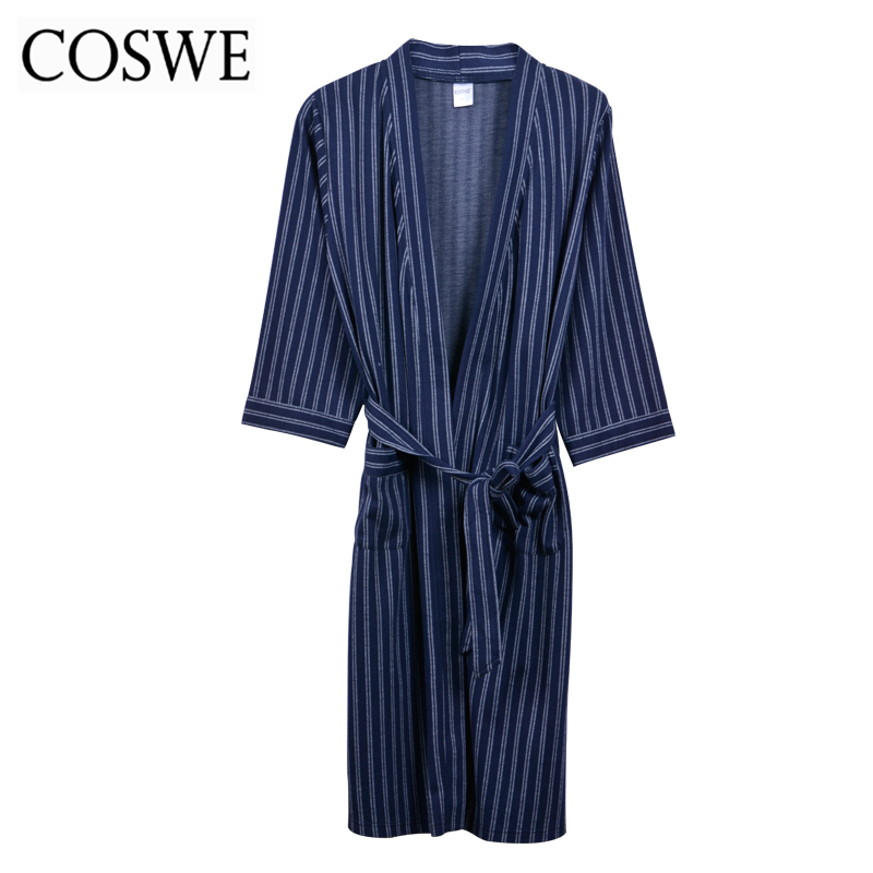 COSWE Winter New Men Cotton Robes For Mens Bathrobes Male Pijamas  Masculinos Striped Robe Gown Comfortable Bathrobe Homewear-in Robes from  Underwear ... 3860bfbde