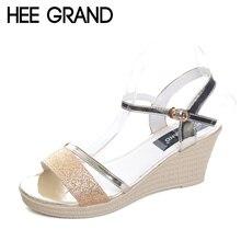Hee Grand/2017 сандалии-гладиаторы золото обувь серебристого цвета женские летние босоножки на танкетке блестит повседневная женская обувь на высоком каблуке XWZ4018