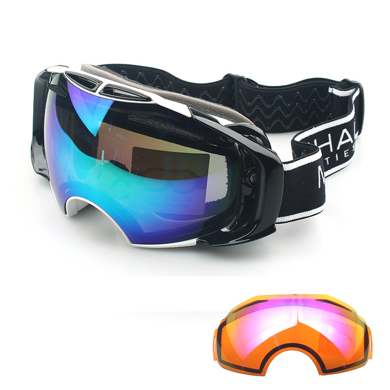2 Lenses UV400 professional Anti Fog High Reflect Ski Goggles Mirror Snowboard Eyewear protective Men Women Snow Skiing Glasses