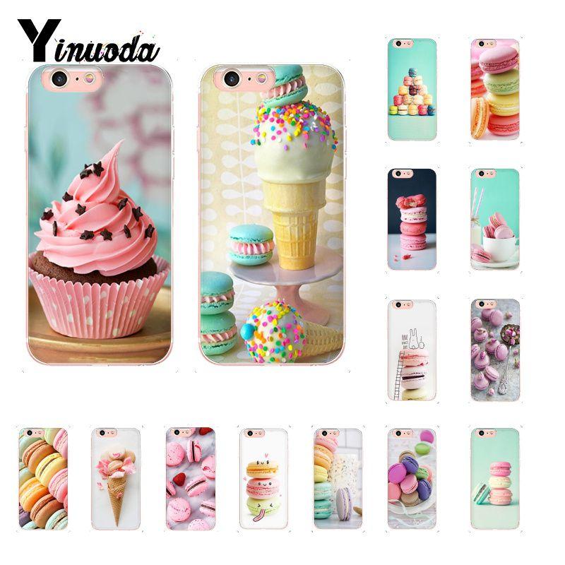 Yinuoda PINK Heart Dessert Ice Cream Macarons Cake Custom Photo Soft Phone Case for iPhone 8 7 6 6S Plus X XS MAX 5 5S SE XR 10