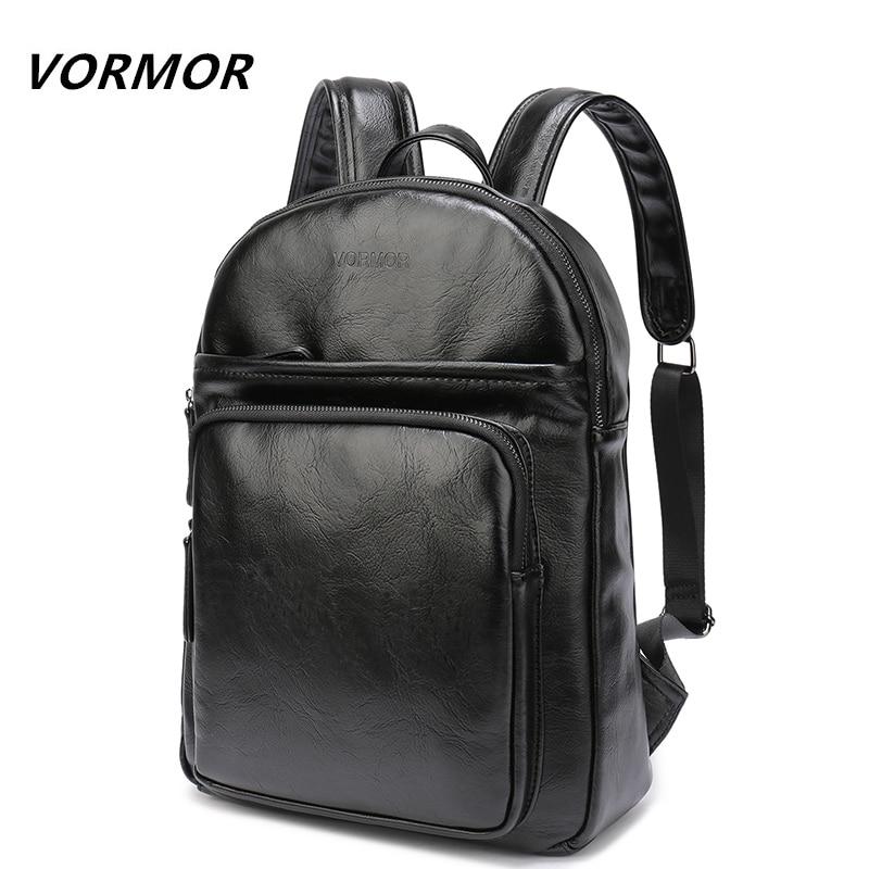 VORMOR Casual Men Backpack for School Black PU Leather Men's Business Small Backpack Bag Portable 13 Inch Laptop Backpack