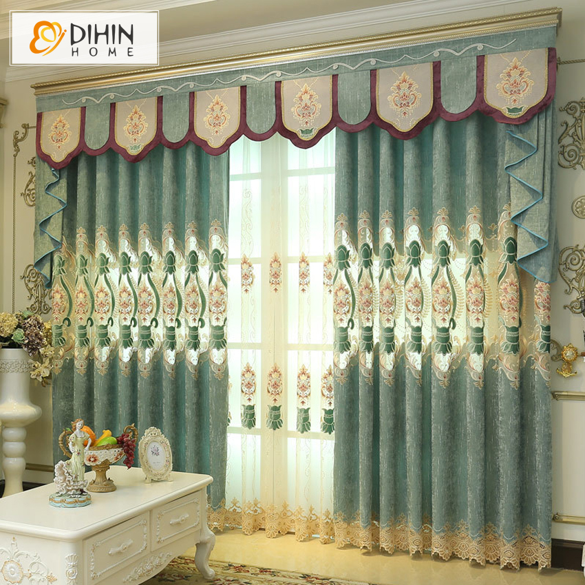 Dihin luxury embroidered european curtains for livering room customized curtain window drapes for home decor in curtains from home garden on