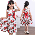 High Quality Girl Dresses Princess bowknot Children Clothing white with red flowers Costume Kid's Party Dress Baby Girls Clothes