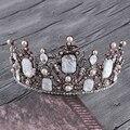 Gran Perla Barroca de la Vendimia Zirconia Coronas de la Boda de dama de Honor Nupcial Rhinestone Tiara Diademas Para El Pelo de La Novia de Circón Joyería