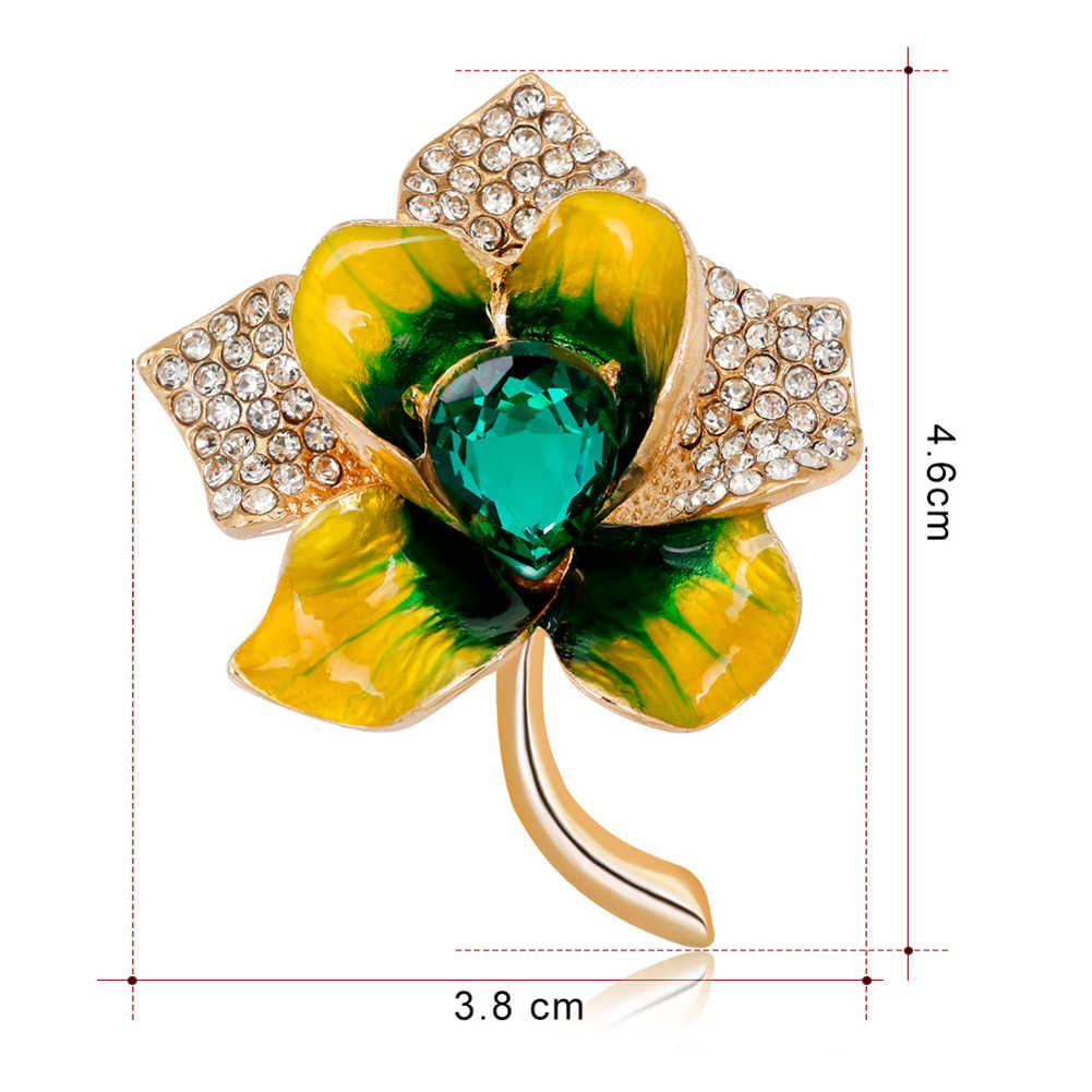 Fashion Wanita Enamel Bunga Hati Berlian Imitasi Tertanam Bros Pin Lencana Perhiasan Baru