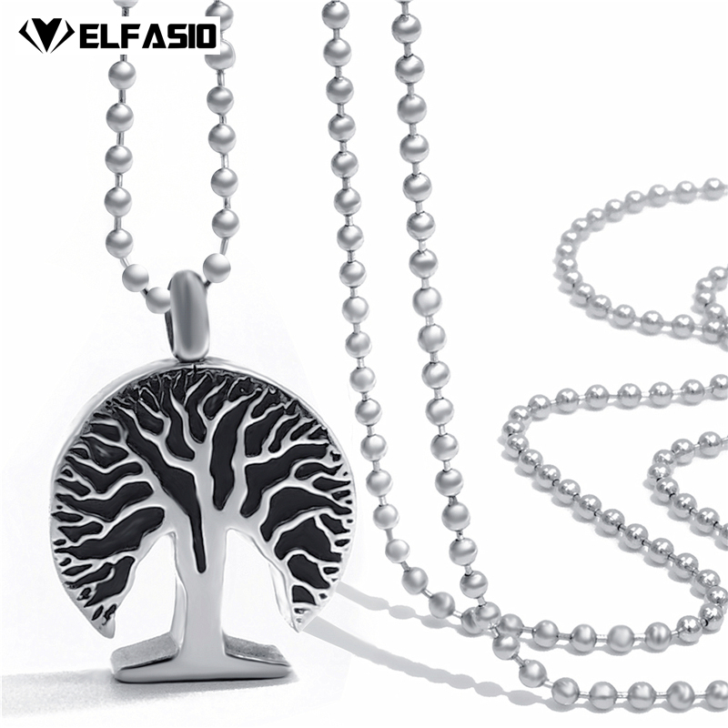 Womens Silver Tree of Life Cremation Keepsake Memorial Urn Stainless Steel  Pendant Necklace Chain Jewelry UP029 1369a2cb1fb4