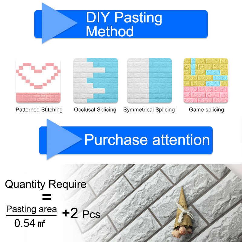 3D Adesivos de Parede de Mármore Tijolo À Prova D' Água DIY Auto-Adesivo Decoração de Fundo Para Kids Room Sala de estar Papel De Parede Autocolante