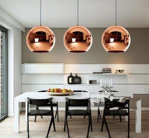 Image 5 - LukLoy Modern stil ayna cam küre kolye ışıkları bakır renk küre lamba kolye ışık Modern aydınlatma armatürleri 1 adet