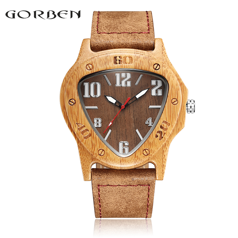 Inverted Triangle Retro Wooden Watch Minimalist Bamboo Nature Leather Band Simple Creative Mens Wood Quartz Wristwatches Clock yisuya inverted triangle bamboo wood wrist watch men top brand genuine leather band strap quartz creative watches wooden clock