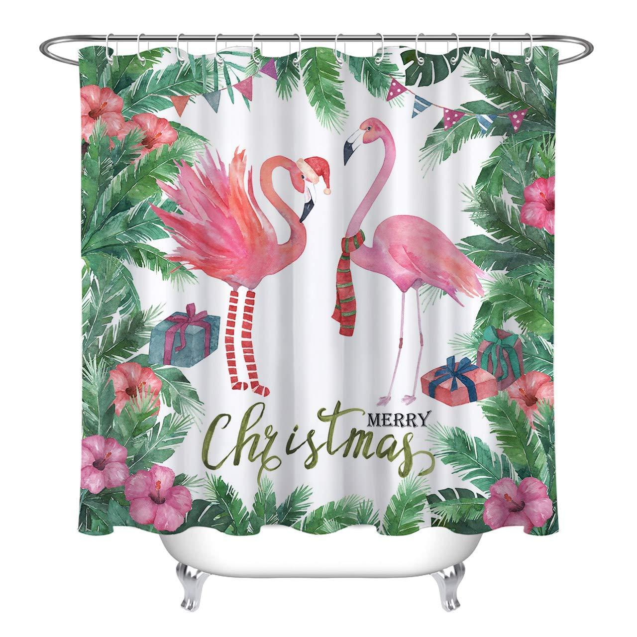 Us 17 78 16 Off Watercolor Christmas Flamingo Shower Curtain Set Green Tropical Plant Palm Leaves Bathroom Curtain Decor Bath Curtain Hooks In