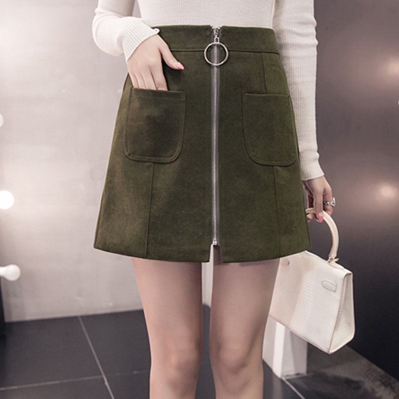 HTB1wQQ.jyFTMKJjSZFAq6AkJpXav - Suede Skirt Fashion High Waist Zippers JKP343
