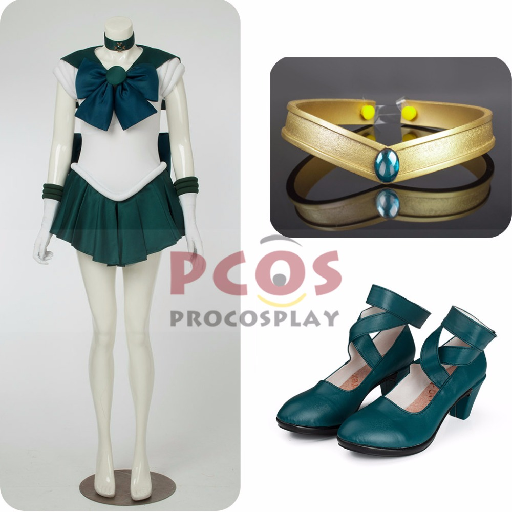 Best Price Set~ Sailor Moon Sailor Neptune Kaiou Michiru Cosplay Costume & headwear & Shoes mp000515 газон зеленый ковер для ленивых 2 кг