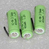 3 4 6 uds 1,2 V 2/3AAA batería recargable 400mah 2/3 AAA ni-mh nimh celular con tab pins Para Afeitadora eléctrica razor teléfono inalámbrico