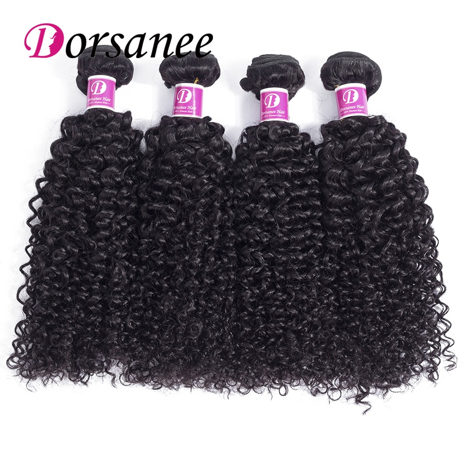 Dorsanee Indian Hair 4 Bundle Deal Human Hair Extension Weave Afro Kinky Curly Bundles Wavy Hair Weft Non Remy Hair Weaves