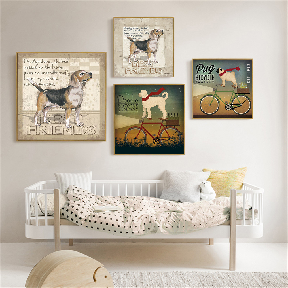 Home Decor Hanging Wall Art Cute Poster Dog Pug Doodle Bicycle