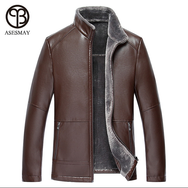 2016 Brand Clothing Winter Leather Jacket Men Thickening Causal Warm Windbreak Male Jacket Fur Collar Wellensteyn Leather Coats