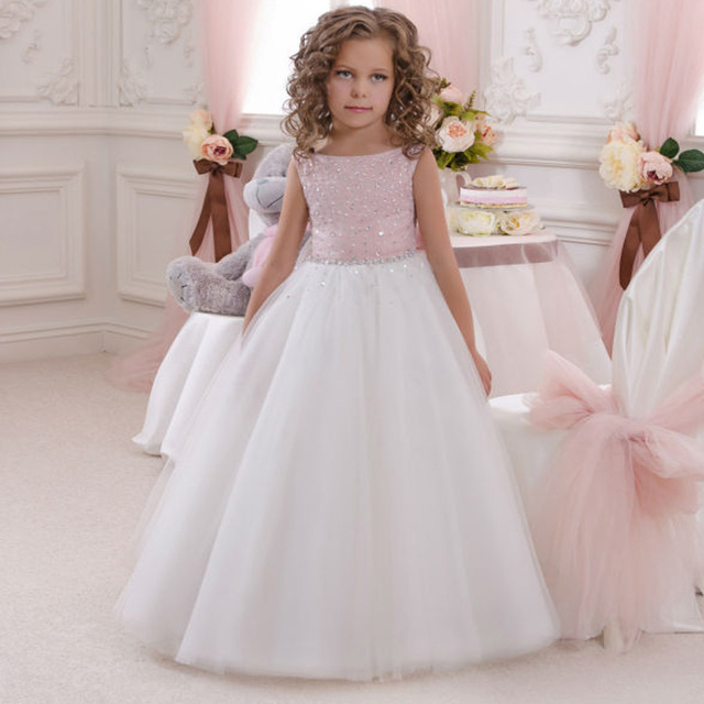 Princess Ball Gown White Lace First Communion Dresses For Girls 2017 Pink Kids Evening Flower Girl Dress For Wedding Cheap