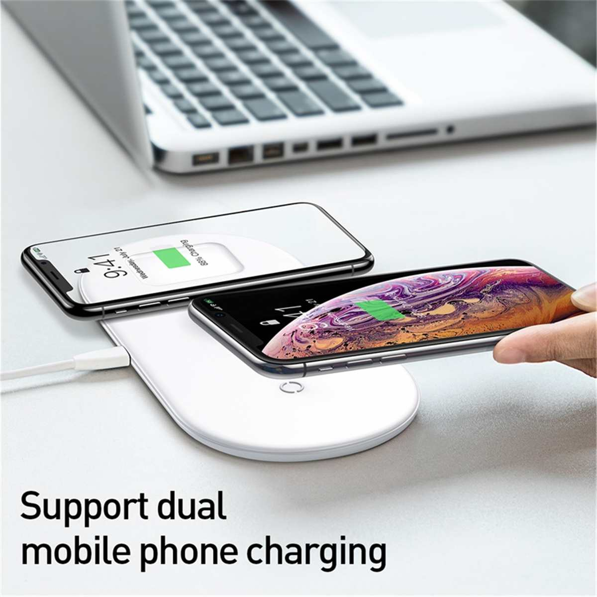 for Baseus 3 In 1 Fast Qi Wireless Charger Pad for iPhone XS Max for Samsung S10 for AirPod Charger for Apple Watch Series 2 3 4