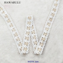 цена на HAWARULU 2yard 2cm handmade DIY Hollow-out pure cotton lace trim dress lace Christmas Hallowmas wedding accessories lace fabric