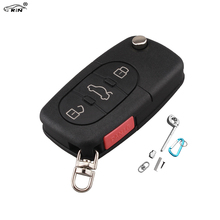 RIN Flip Car Key Case for VW Passat Jetta Beetle Golf 3+1 Button Remote Key Cover for Audi A4 A6 A8 TT with HU66 Blade