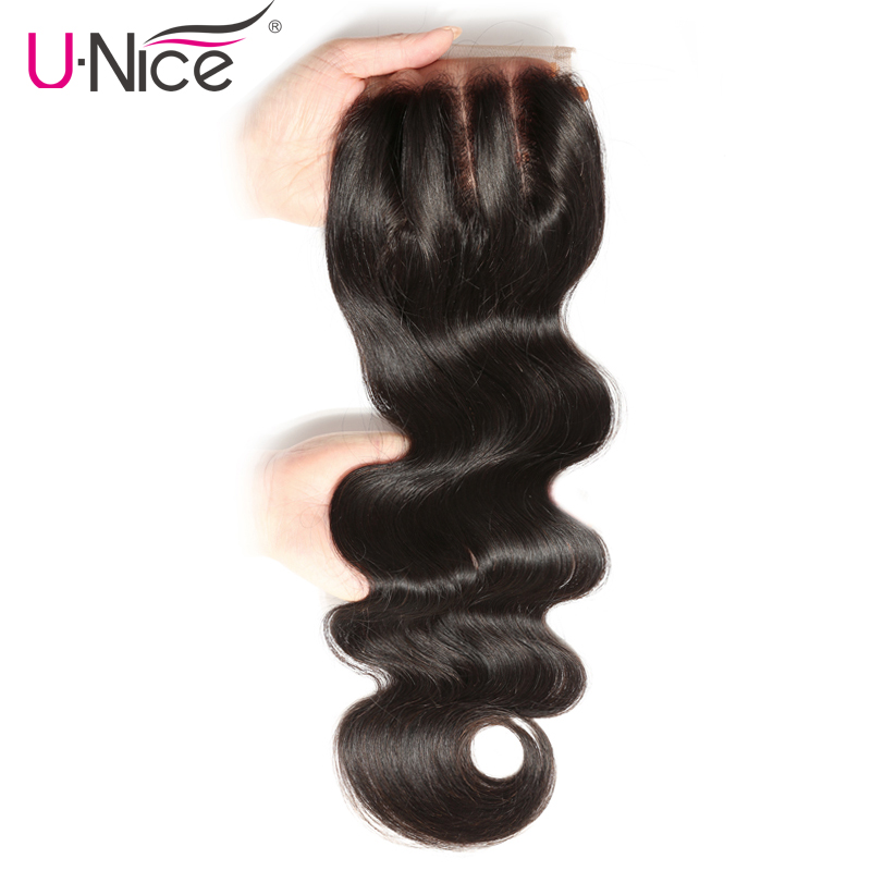 UNICE HAIR Three Part Lace Closure 100 Brazilian Hair Body Wave Closure Swiss Lace Remy Human