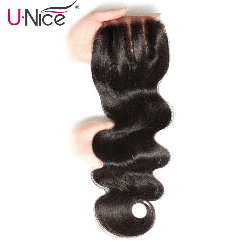 UNICE HAIR Three Part Lace Closure 100 Brazilian Hair Body Wave Closure Swiss Lace Remy Human