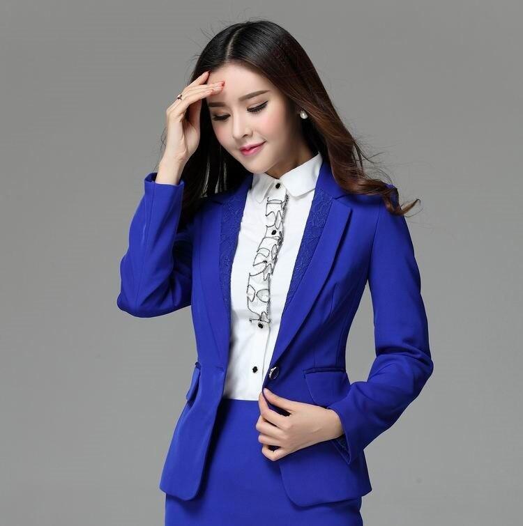Azul Formal Blazer mujeres chaquetas de invierno 2015