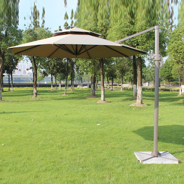 Dia 3 Meter Aluminum Outdoor Sun Umbrella Parasol Patio Cover Furniture Shade 360 Degrees Rotation No Stone Base