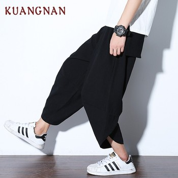 KUANGNAN Chinese Casual Pants Men Ankle-Length Cotton Linen Loose Harem Pants Men Joggers Solid Streetwear Men Pants 2018 Autumn