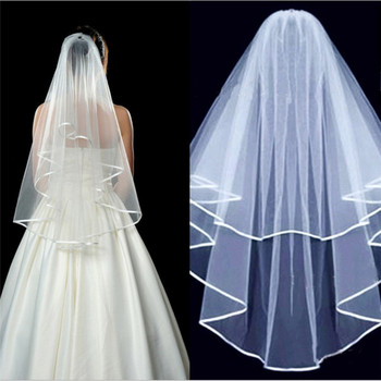 Canner White Ivory Two Layers Wedding Veils Simple And Elegent Short Bridal Tulle Edge White Lace Bridal Veil With Comb A30 eudress two layers white ivory wedding veil short tulle veils with comb wedding accessories bridal veils with sequins