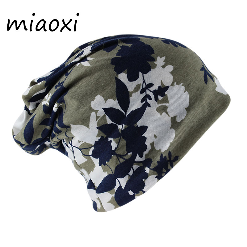 Miaoxi Top Fashion Women Floral Beanies Scarf Two Used Female Caps Casual Gorros Adult Cotton Warm Autumn Bonnet Girls Hats