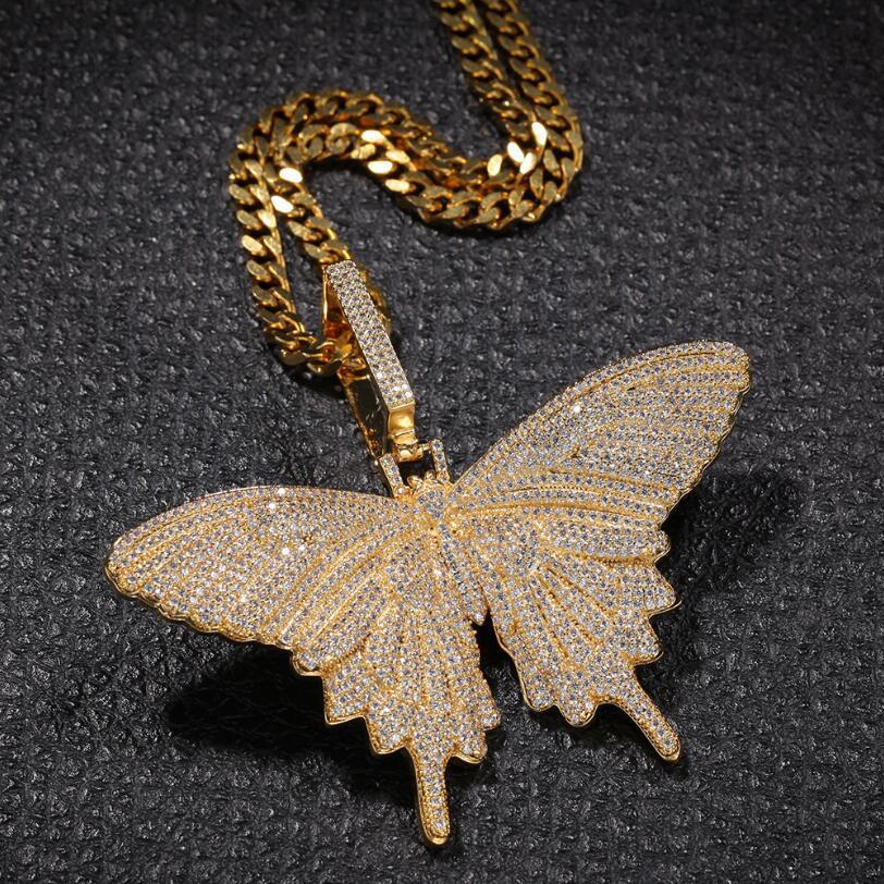 Bling glacé collier pendentif papillon pour hommes femmes cadeau Micro Pave AAA cubique zircone Hip Hop collier
