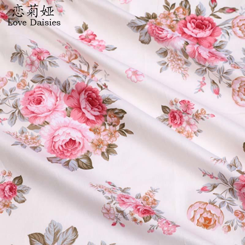 100% cotton elegant pink flower s floral twill cloth DIY for kids bedding cushions clothes dress handwork quilting fabric