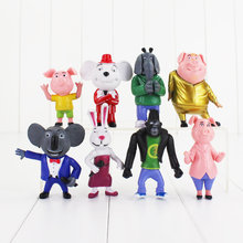 Hot 8 pcs Cantar Filme PVC Action Figure Buster Lua Johnny Bonecas Brinquedo 7-10 cm Meena(China)
