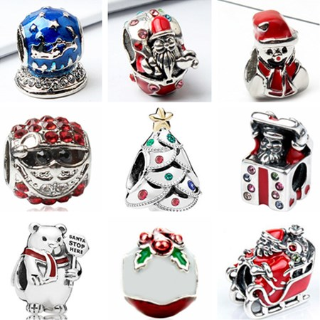 Pandora Christmas Charms.Us 0 21 Maxi Small Christmas Tree Crutch Bell Santa Claus Beads Charms Fit Pandora Bracelets Bangles For Women Diy Jewelry Making Gift In Beads