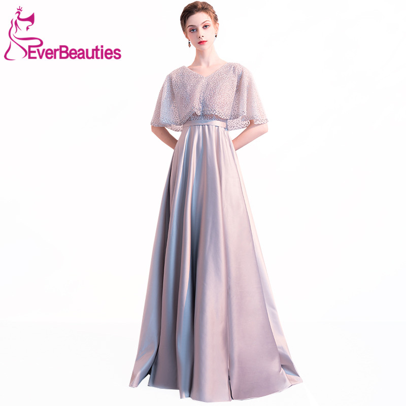 Grey Evening Dress Long 2019 Satin with Sequins Boat-Neck Robe De Soiree Evening Gowns Elegant Long Prom Party Dresses