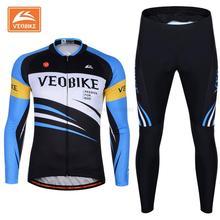 VEOBIKE 2017 Bike Wear Bicycle Pro Cycling Clothing Cycling Long Sleeve Jersey Shirts Men's Autumn Jersey Sets Top Quality