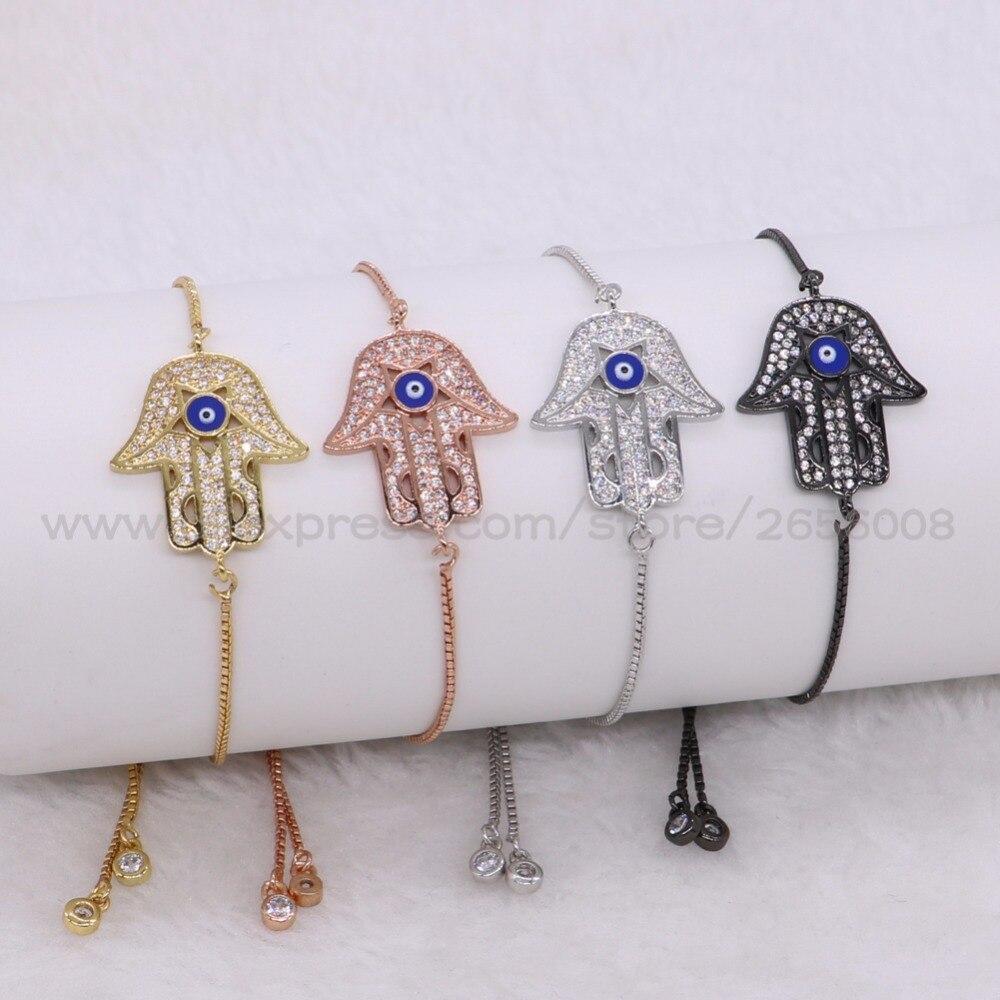 Turkish High quality hand shape Blue Eye Charm bracelet metal adjustable bracelet bangle Mix color Gems jewelry fashion 2005