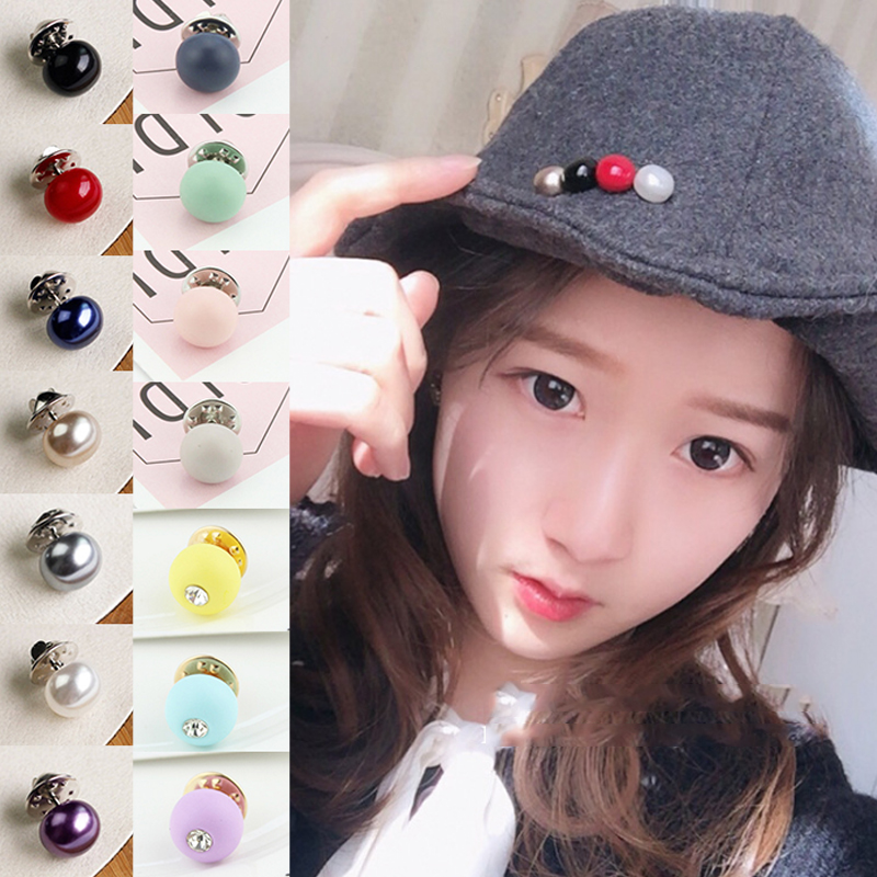 LNRRABC PU Material Imitation Circle Pearl Brooch Button 1PCS Zircon Hot Sale Fashion Colourful Women Buttones